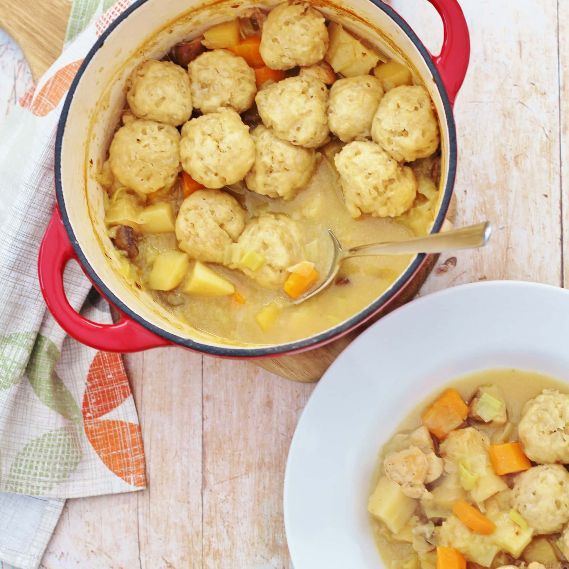 Roast Chicken Leftovers Stew with Easy Peasy Dumplings - recipes with leftover chicken