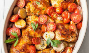 Roast Chicken Tray Bake Tomatoes Delicious Potatoes – Chicken Recipes With Tomatoes