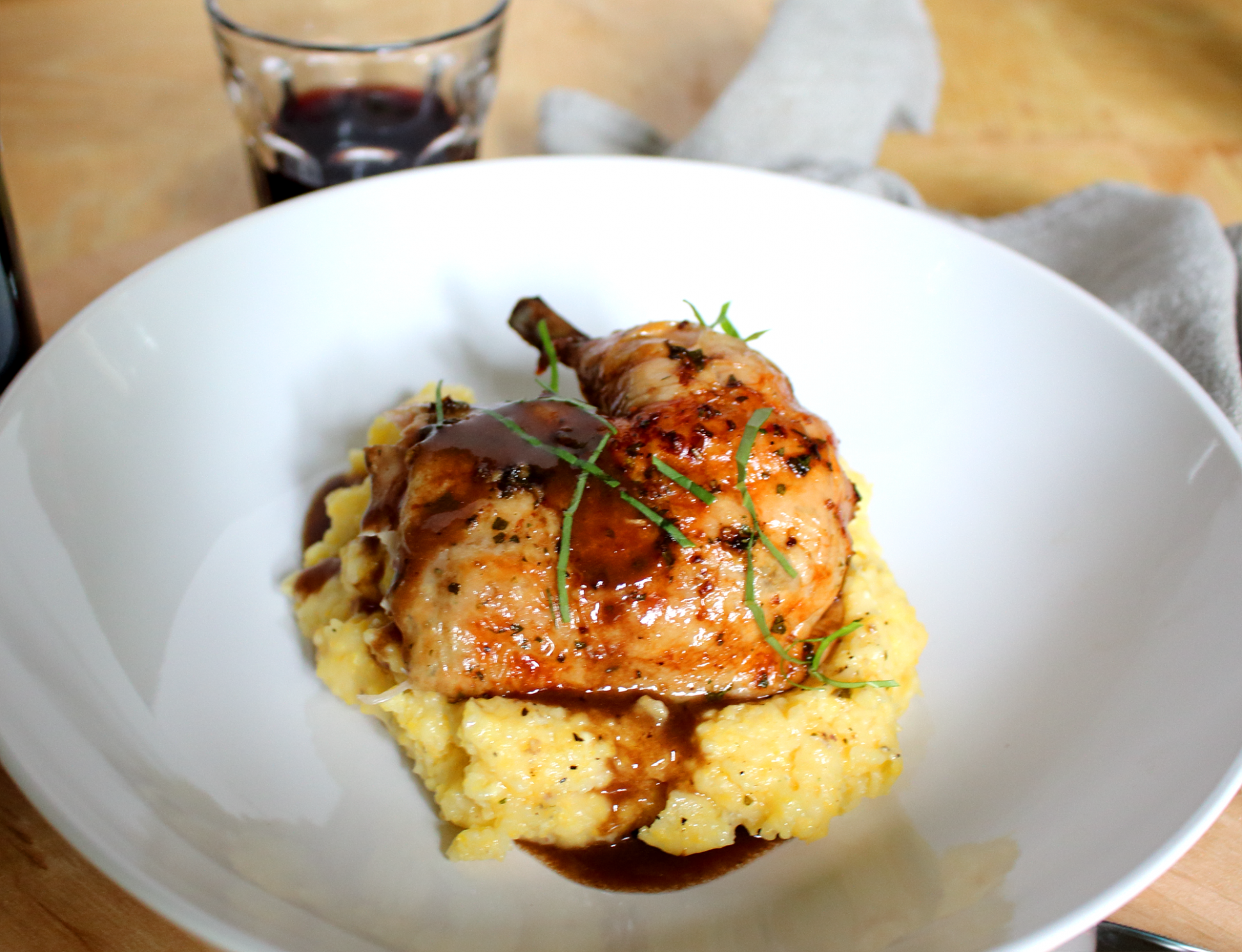 Roast Chicken with Red Wine Demi-Glace and Polenta - chicken recipes red wine