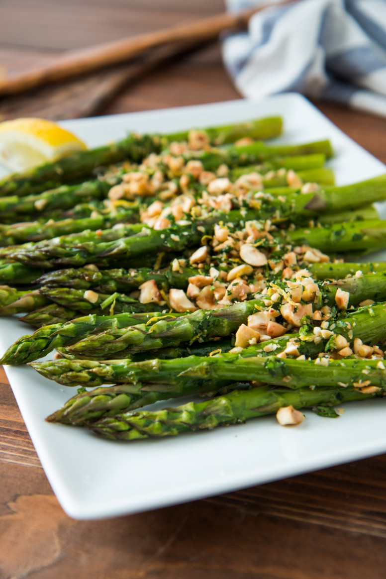 Roasted Asparagus with Hazelnut Gremolata - vegetarian recipes asparagus