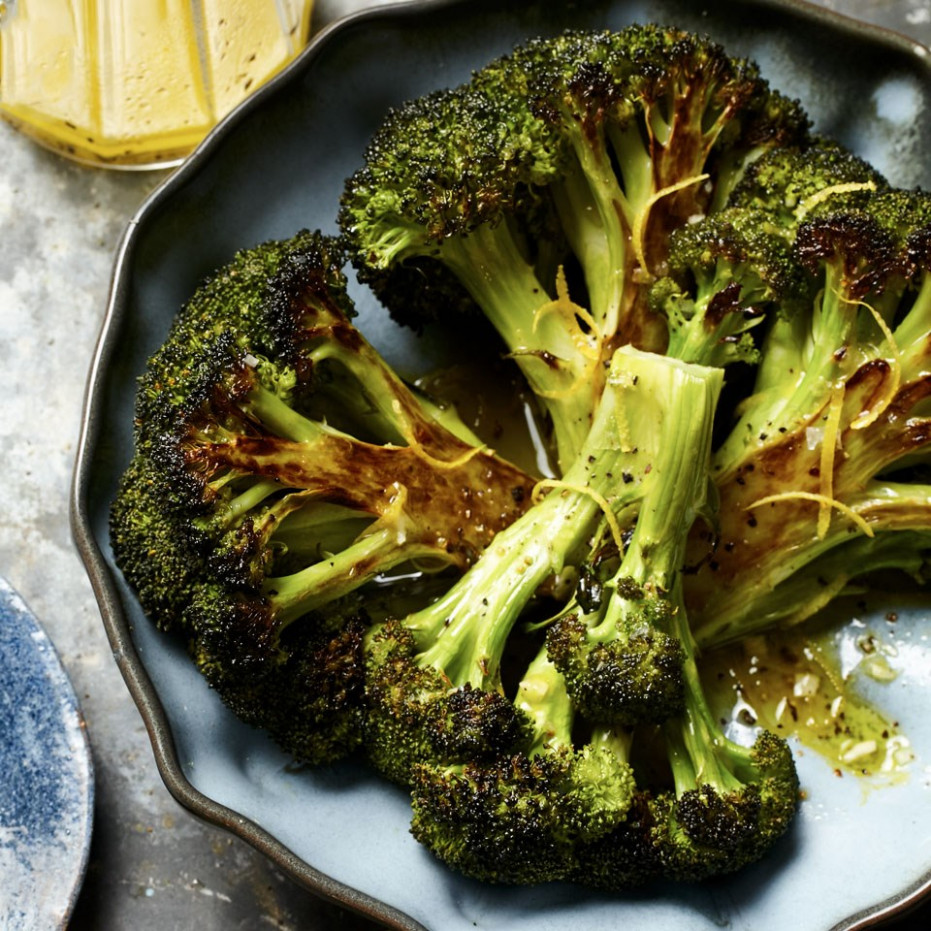 Roasted Broccoli with Lemon-Garlic Vinaigrette - broccoli recipes vegetarian