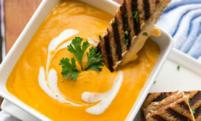 Roasted Butternut Garlic Bisque With Grilled 3 Cheese Sandwich Sticks – Cream Cheese Recipes Dinner