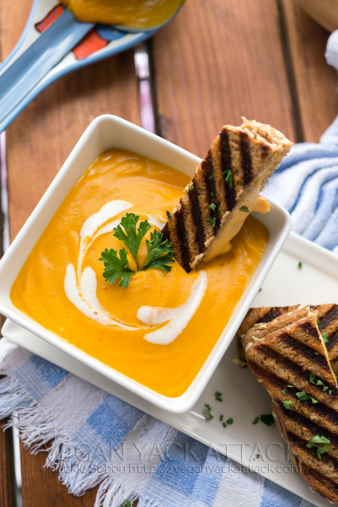 Roasted Butternut Garlic Bisque with Grilled 3-Cheese Sandwich Sticks - cream cheese recipes dinner
