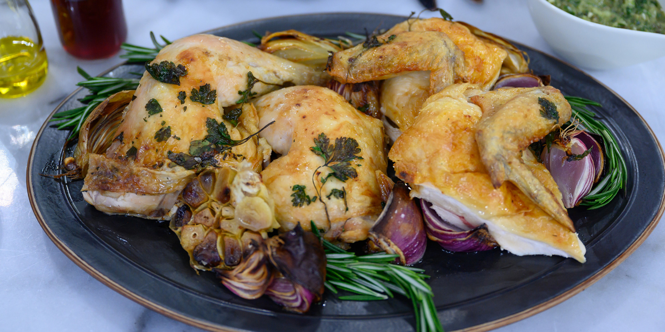 Roasted Chicken with Chimichurri Sauce - leftover roast chicken recipes