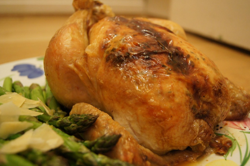 Roasted Chicken with lemon and shallot asparagus - recipes asparagus and chicken