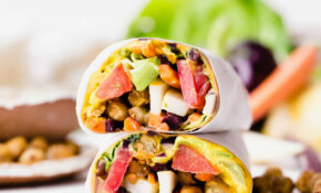 Roasted Chickpea Veggie Wraps With Turmeric Hummus And ..