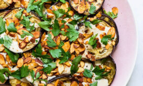 Roasted Eggplant With Tahini Sauce, Spiced Almonds And Parsley – Healthy Recipes Ottolenghi