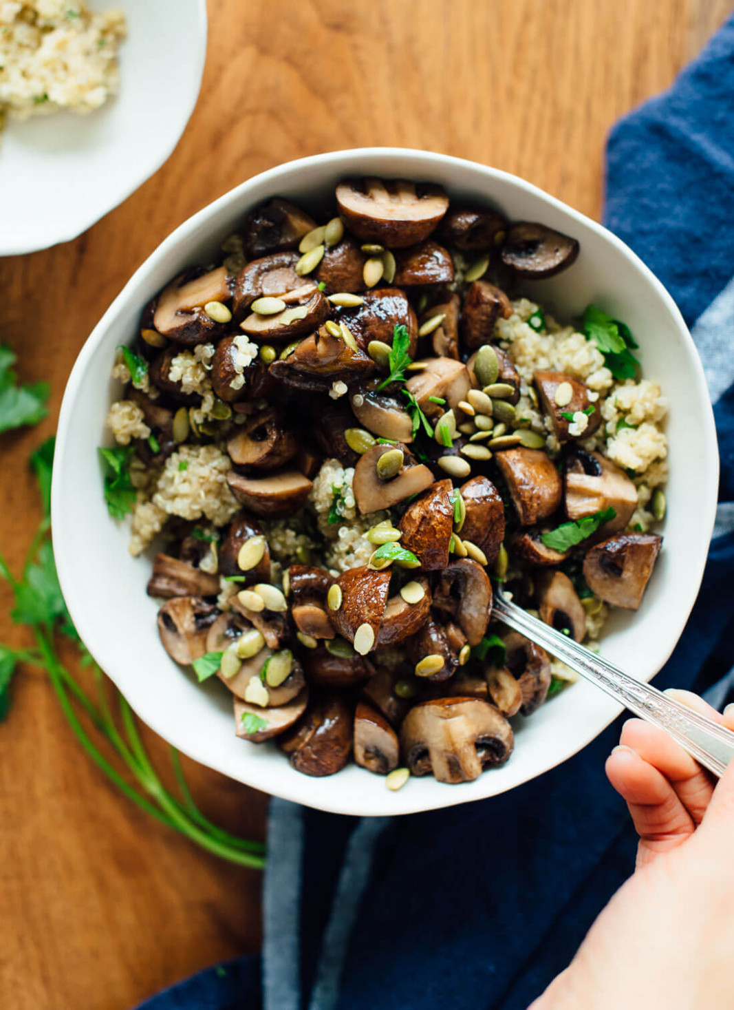 Roasted Mushrooms With Herbed Quinoa - Healthy Recipes Epicurious