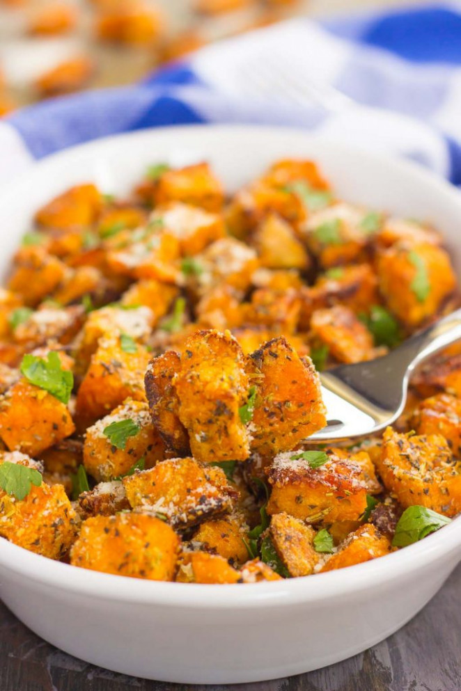 Roasted Parmesan Herb Sweet Potatoes {Plus a video ..