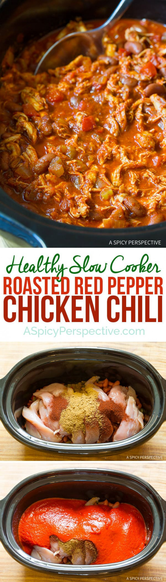 Roasted Red Pepper Chicken Chili Recipe - healthy slow cooker recipes chicken