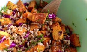 roasted sweet potato and farro salad with lemon and dill ...