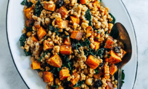 Roasted Sweet Potato, Kale and Farro Salad with Lemon Tahini Dressing