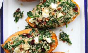 Roasted Sweet Potatoes Stuffed With Quinoa And Spinach – Oven Recipes Vegetarian