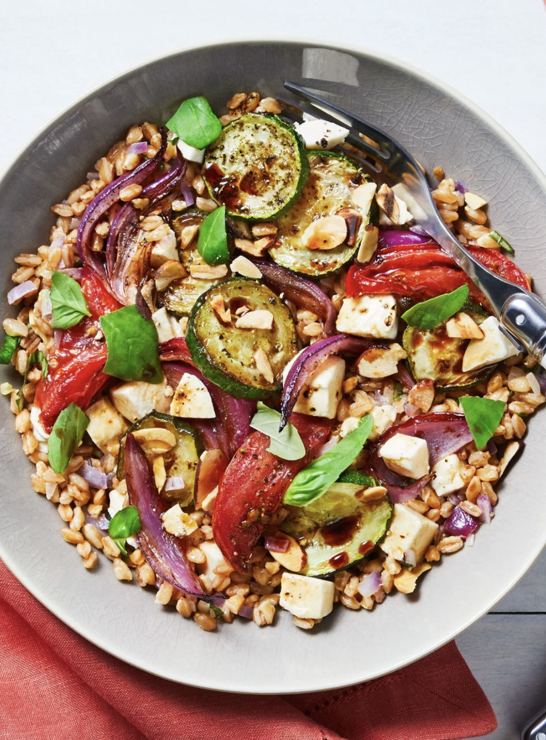 Roasted Veggie Caprese Bowl with Farro and Balsamic Vinaigrette - recipes easy vegetarian