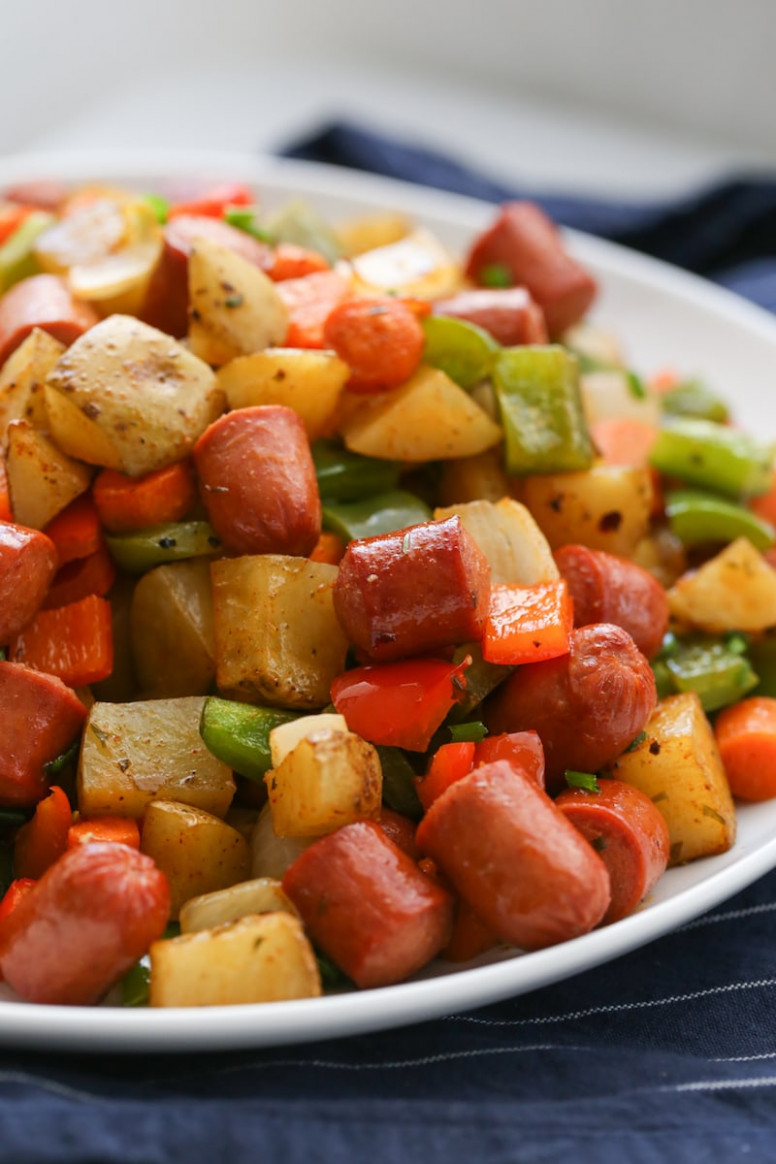 Roasted Veggie Hot Dog Hash - recipe vegetarian hot dog