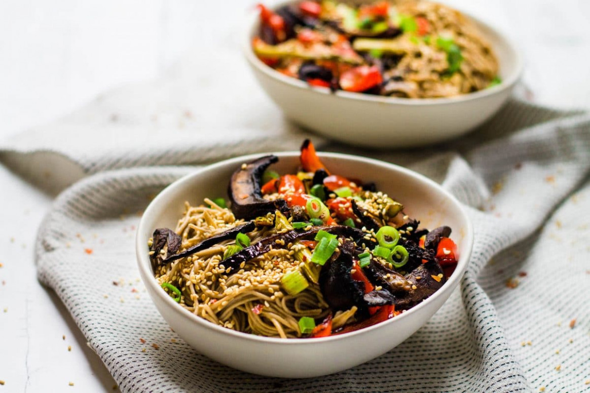 Roasted Veggie Noodle Bowl | Happy Veggie Kitchen - noodle recipes vegetarian