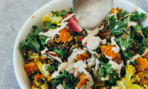 Roasted Veggie & Quinoa Salad With Tahini Garlic Dressing ..