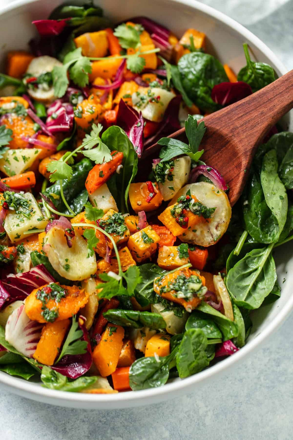 Root Vegetable Salad With Chimichurri - Warm Salad Recipes Vegetarian
