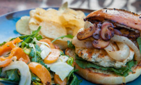 Rosemary Garlic Chicken Burger With Arugula, Fennel, Apricots And Pistachio Salad – Giada Recipes Chicken