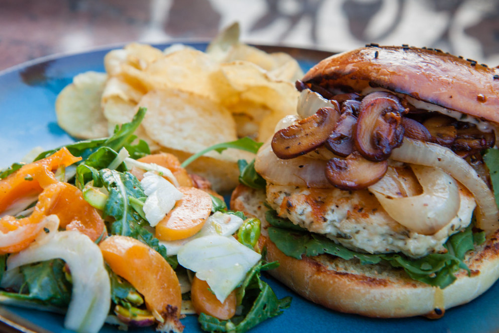 Rosemary Garlic Chicken Burger With Arugula, Fennel, Apricots And Pistachio Salad - Giada Recipes Chicken