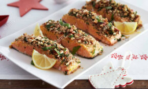 Salmon Fillets With A Nut Crust For Christmas Dinner Stock ..
