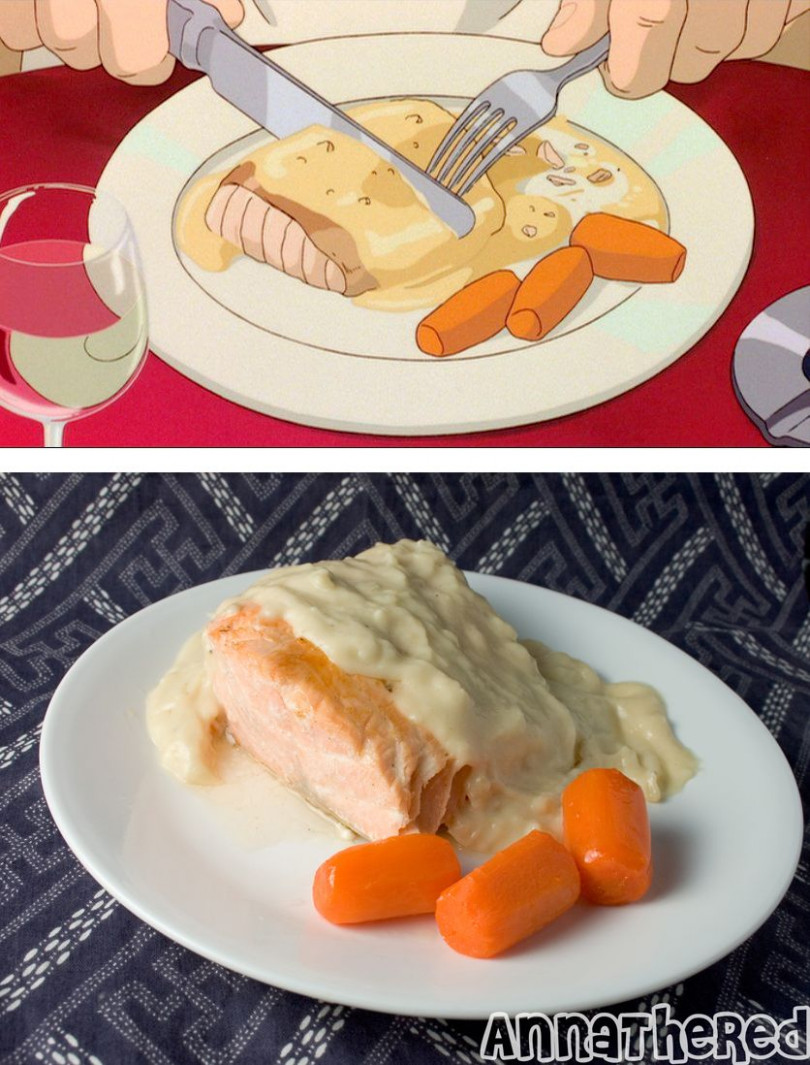 Salmon with Bechamel sauce and glazed carrot from Porco ..