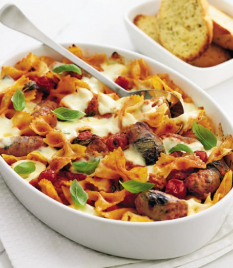 Sausage and roast vegetable pasta bake - delicious