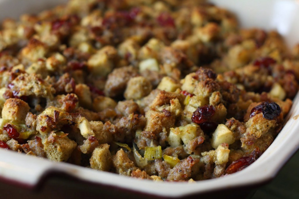 Sausage, Apple and Cranberry Stuffing - dinner recipes ground turkey