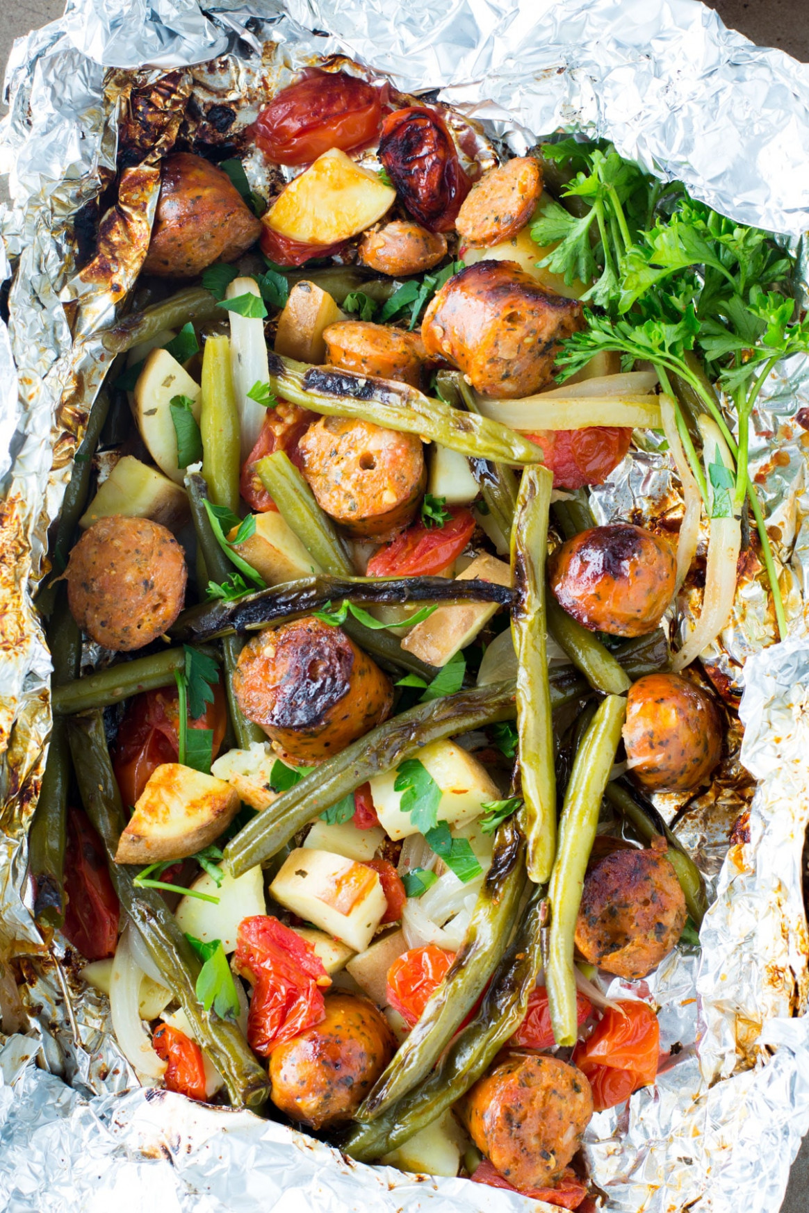 Sausage & Veggie Foil Packets - vegetarian recipes dinner