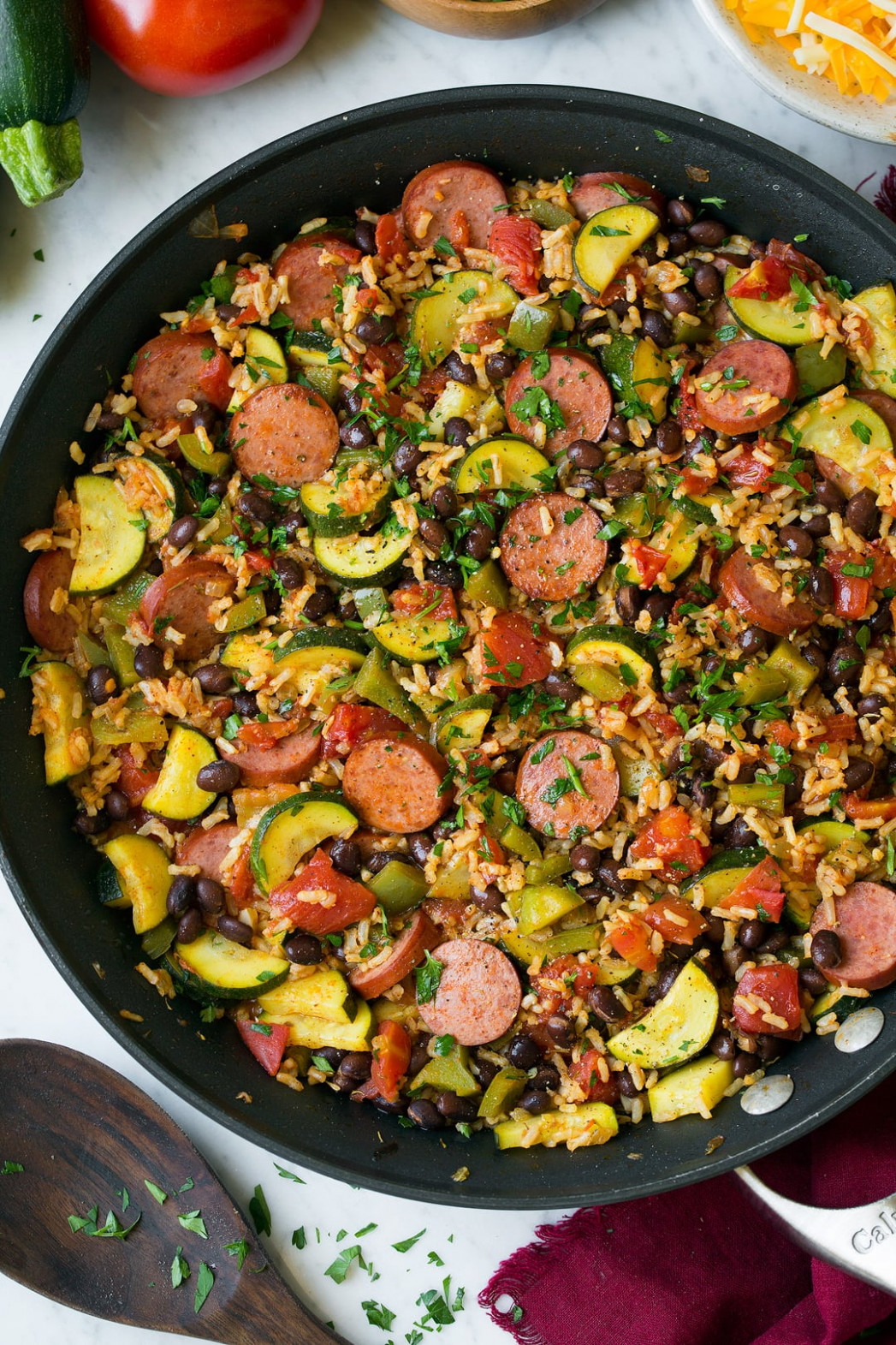 Sausage Zucchini and Brown Rice Skillet (One Pan) - recipes with sausage for dinner