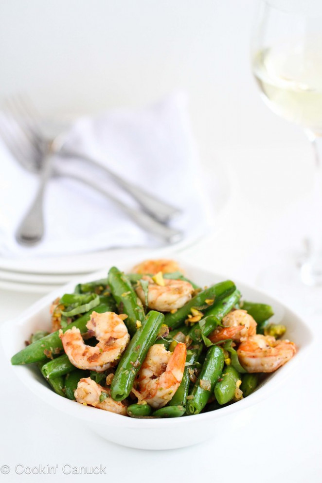 Sautéed Shrimp, Snap Peas & Pistachios with Basil Recipe #recipe #healthy - healthy recipes shrimp