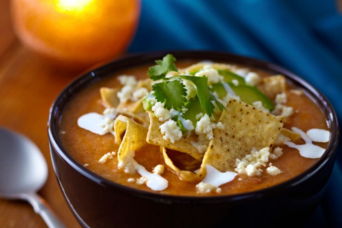 Savory Tortilla Soup with Crispy Tortillas, Queso Fresco ..