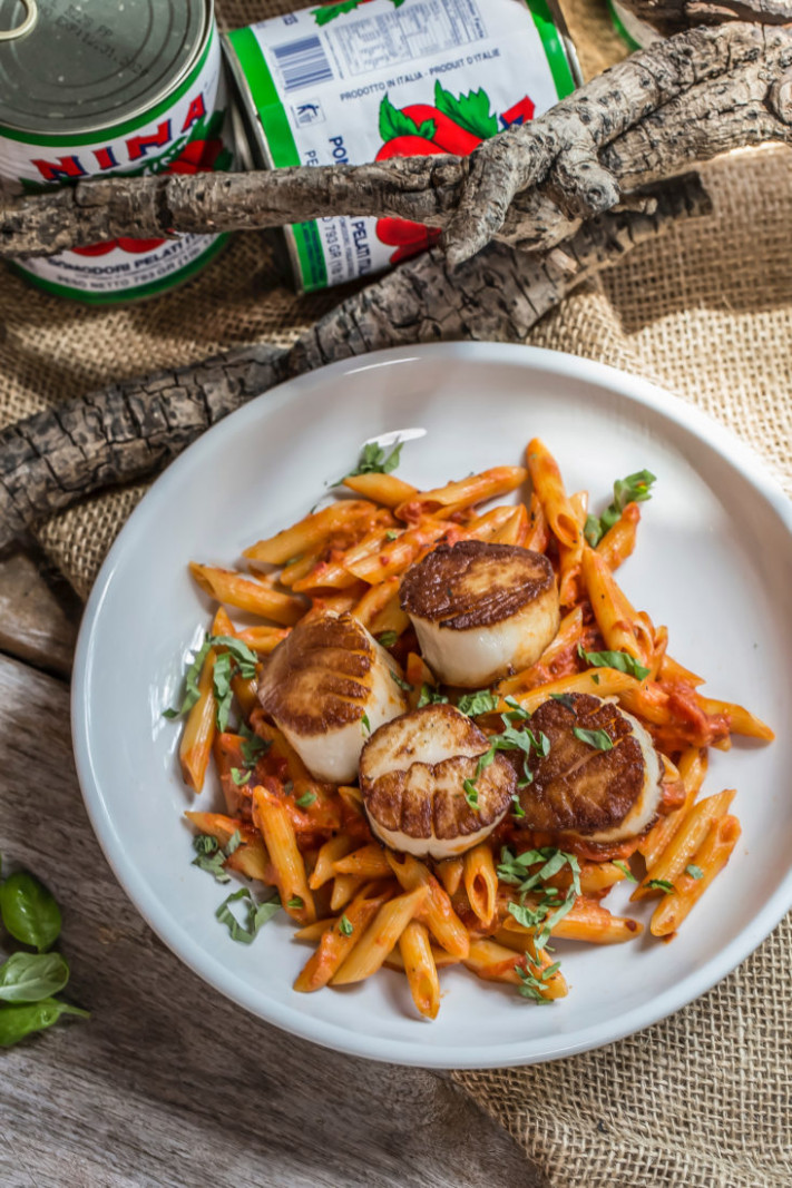 Scallops Over Penne with Vodka Sauce – Garden & Gun - food recipes with vodka