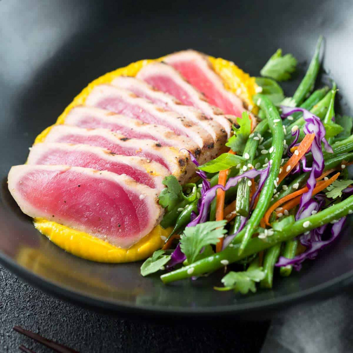 Seared Ahi Tuna with Crispy Sesame Green Beans - fresh tuna recipes dinner