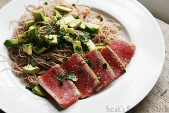 Seared Tuna with Avocado and Brown Rice Noodles | Sarah's ..