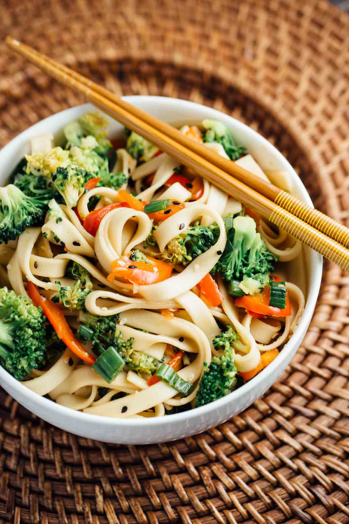 Sesame Broccoli Noodle Bowl (Vegan) - The Veggie Chick - vegetarian noodle recipes