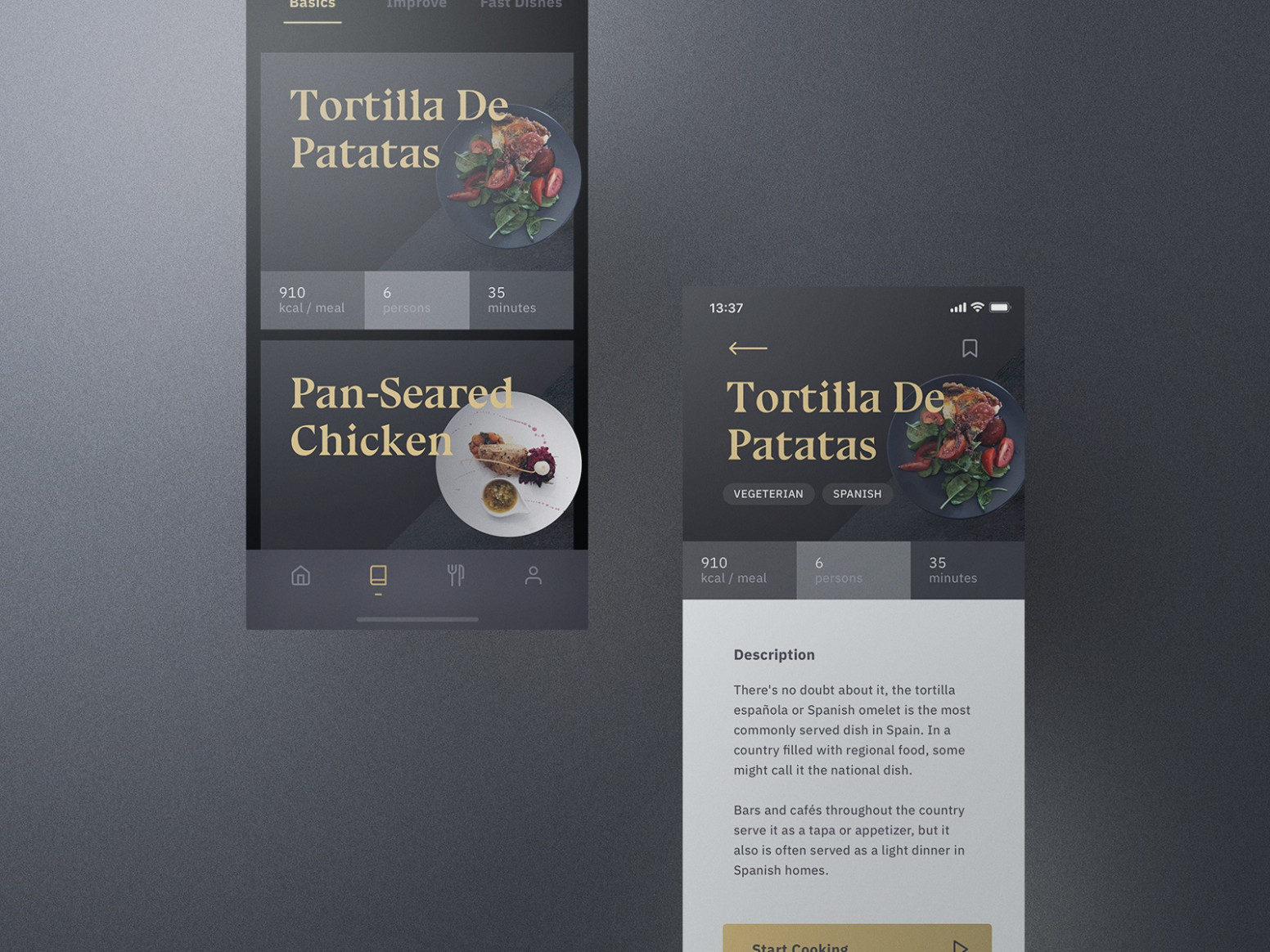 Sheek Food iOS UI Kit Recipes by Roland Lehle for UI13 on ..