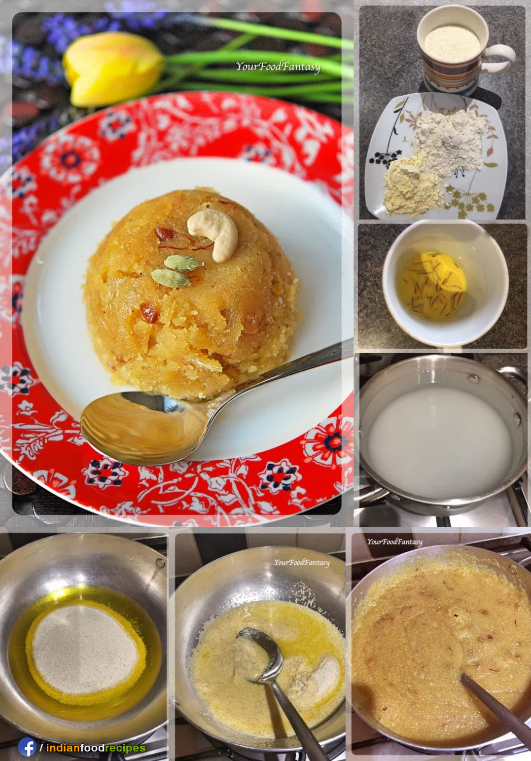Sheera Semolina Pudding recipe step by step pictures ..