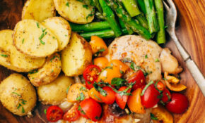 Sheet Pan Bruschetta Chicken With Potatoes And Asparagus ..