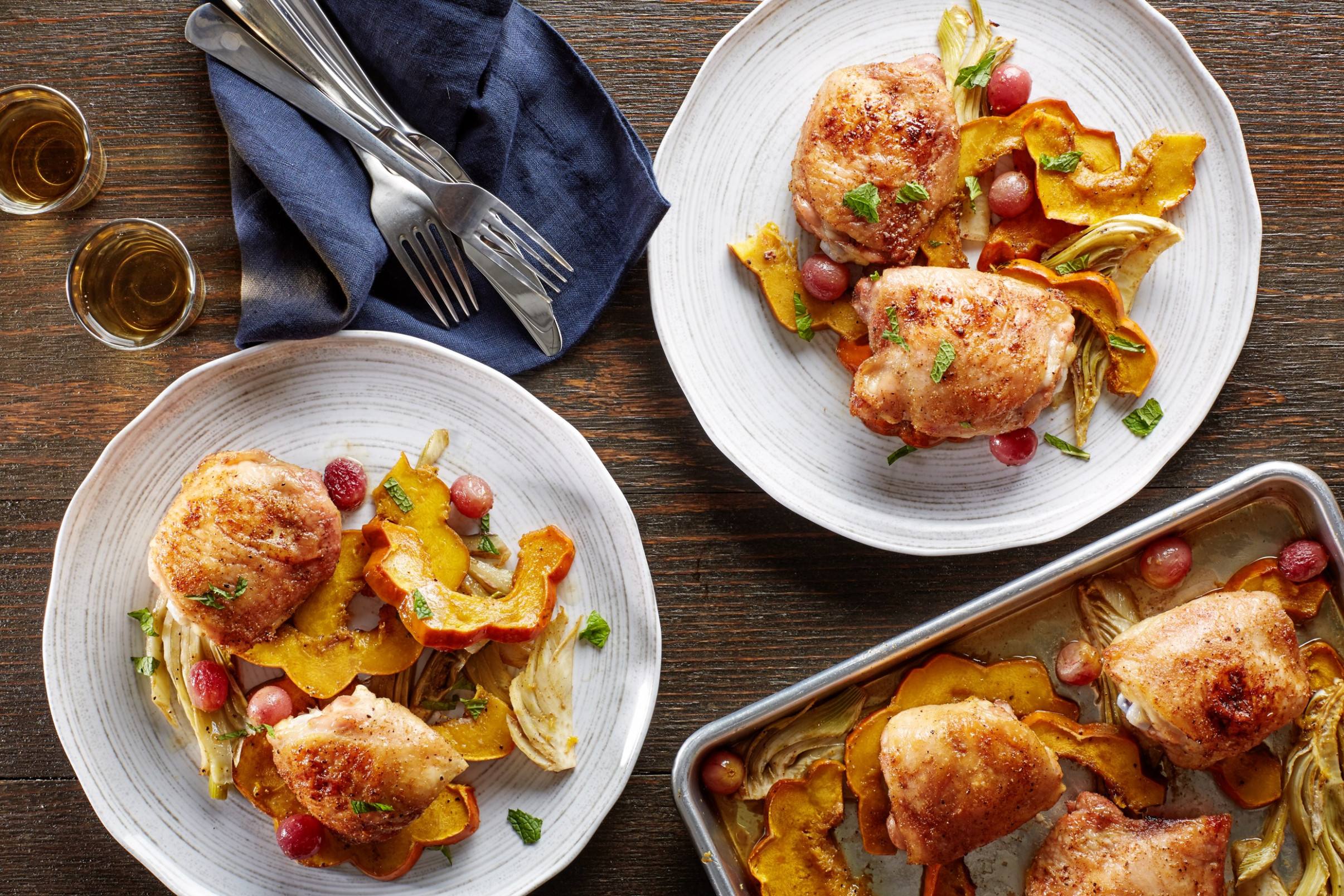 Sheet-Pan Cumin Chicken Thighs with Squash, Fennel, and Grapes - dinner recipes one pan