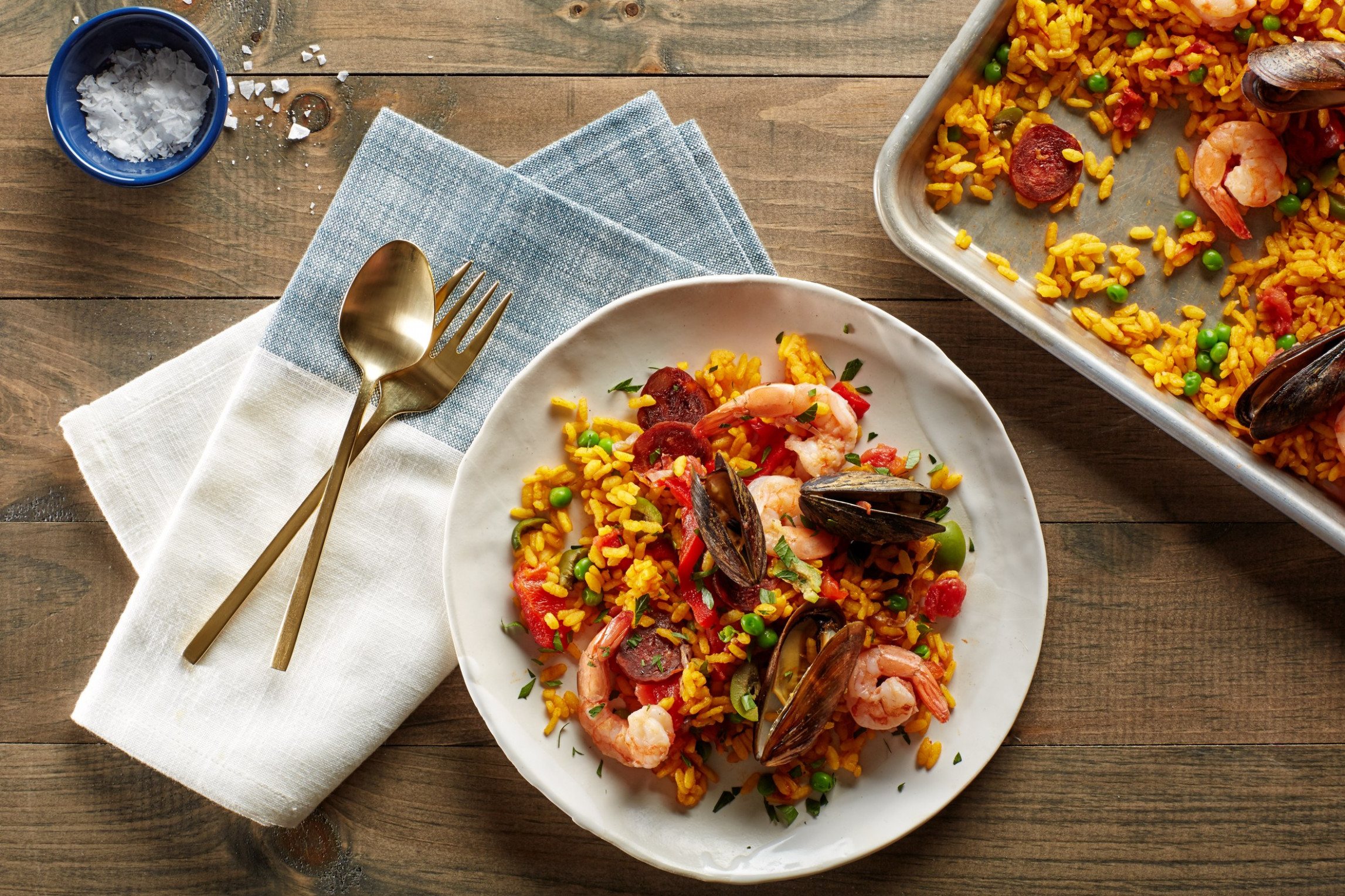 Sheet-Pan Paella with Chorizo, Mussels, and Shrimp - chorizo recipes dinner