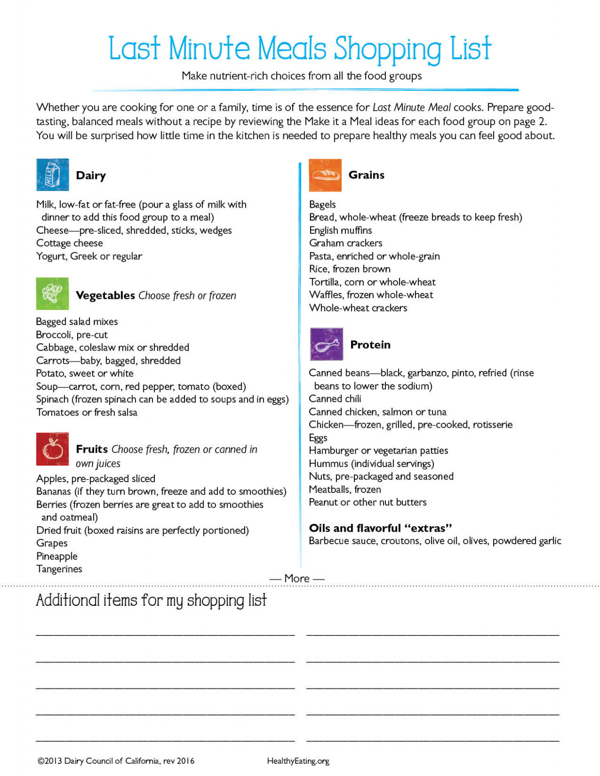 Shopping list for last minute meals - healthy recipes list
