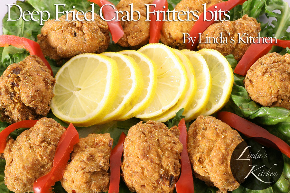 shot of deep fried crab fritters - puppy food recipes
