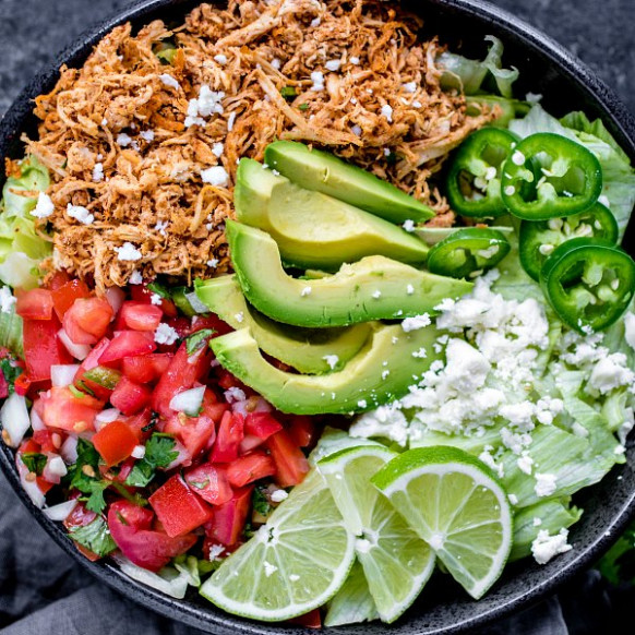 Shredded Chicken Taco Bowl (Low Carb) - Home. Made. Interest