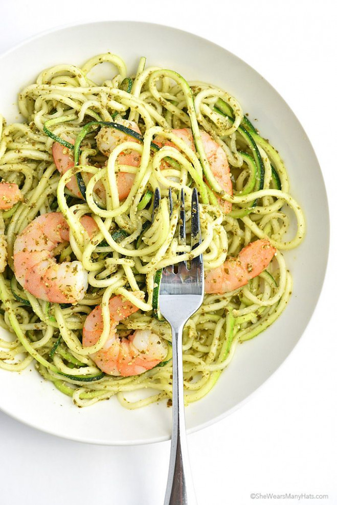 Shrimp And Pesto Zoodles Recipe, Yes Zoodles With A Z ..