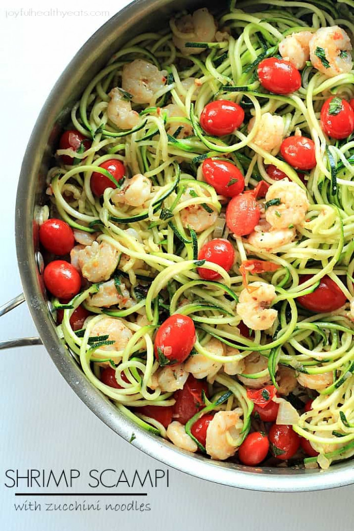Shrimp Scampi with Zucchini Noodles - healthy dinner recipes zucchini noodles