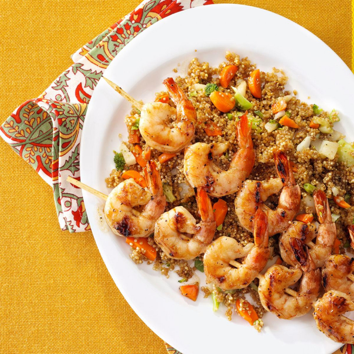 Shrimp Skewers With Asian Quinoa - Dinner Recipes Quinoa