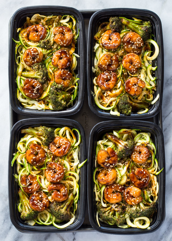 Shrimp Teriyaki Zucchini Noodles Meal-Prep - healthy zoodle recipes with chicken
