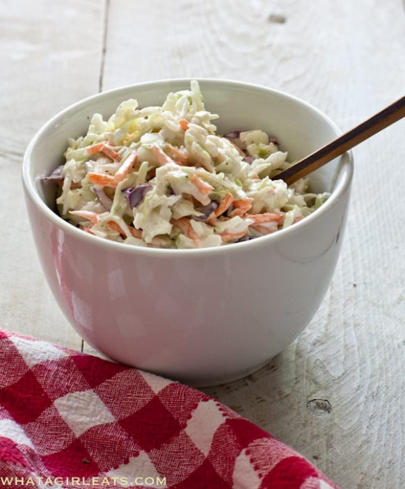 Simple Creamy Cole Slaw Recipe - What a Girl Eats - dinner recipes coles