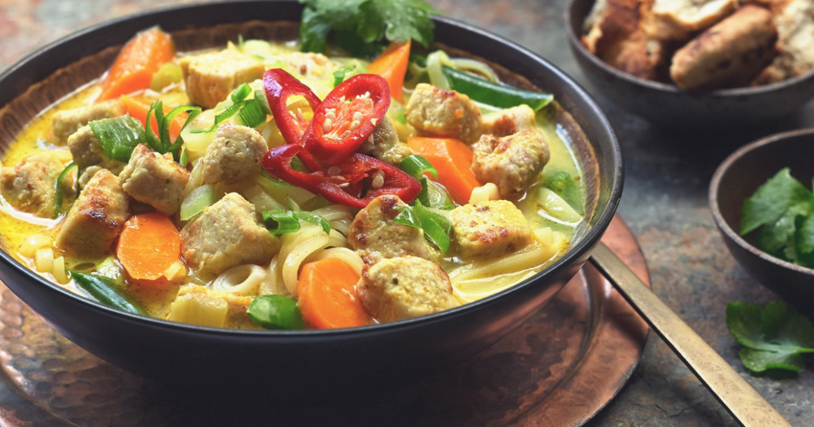 Simple Thai Noodle Soup With Quorn Meatless Chicken | US - Recipes Quorn Chicken